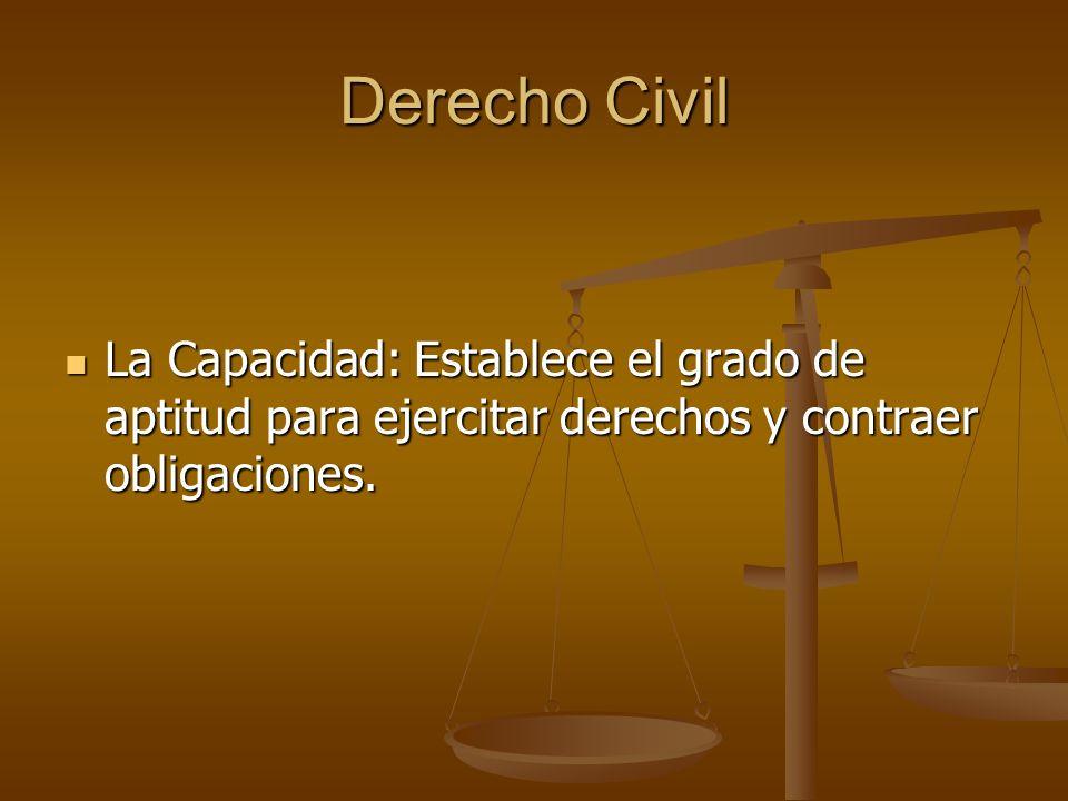 Derecho Civil La Capacidad: Establece el grado de aptitud para ejercitar derechos y contraer obligaciones.
