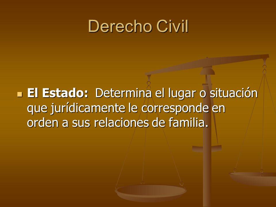 Derecho Civil El Estado: Determina el lugar o situación que jurídicamente le corresponde en orden a sus relaciones de familia.