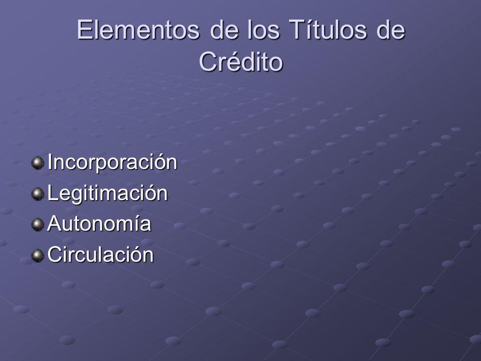Elementos de los Títulos de Crédito
