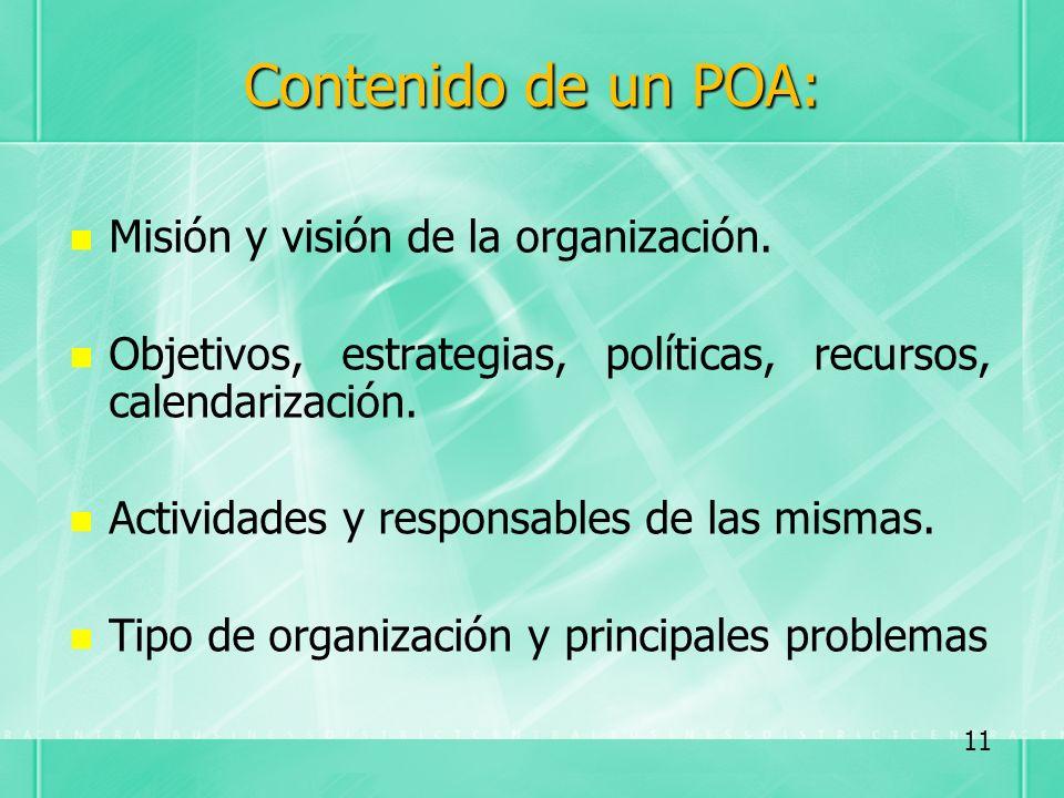 Contenido de un POA: Misión y visión de la organización.