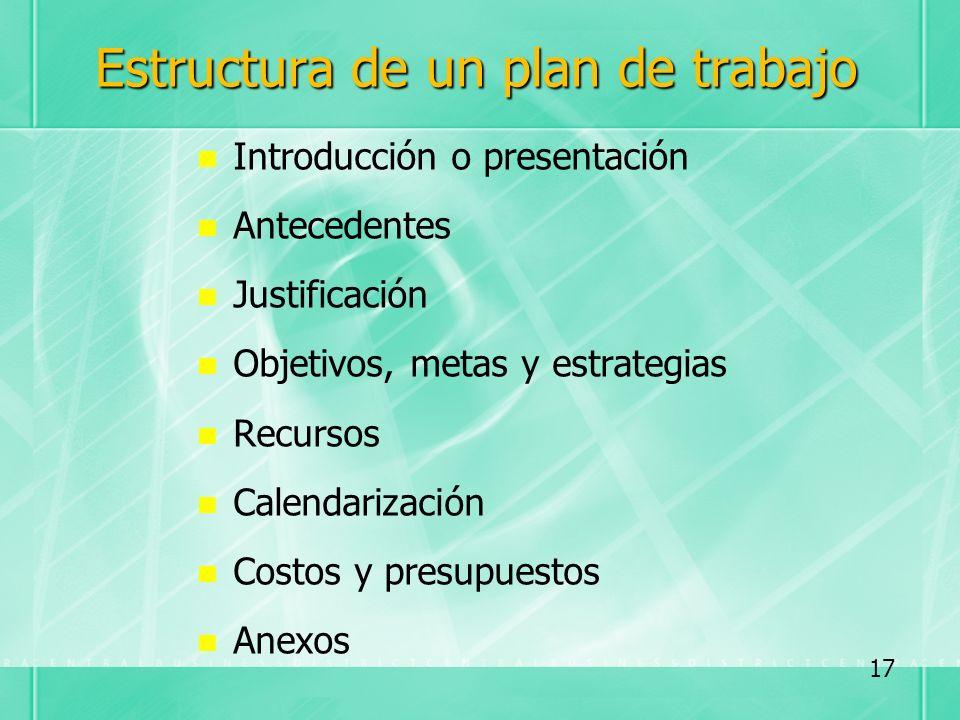 Estructura de un plan de trabajo