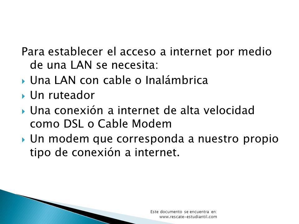Para establecer el acceso a internet por medio de una LAN se necesita: