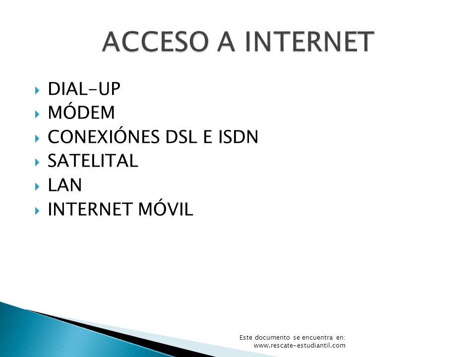 ACCESO A INTERNET DIAL-UP MÓDEM CONEXIÓNES DSL E ISDN SATELITAL LAN