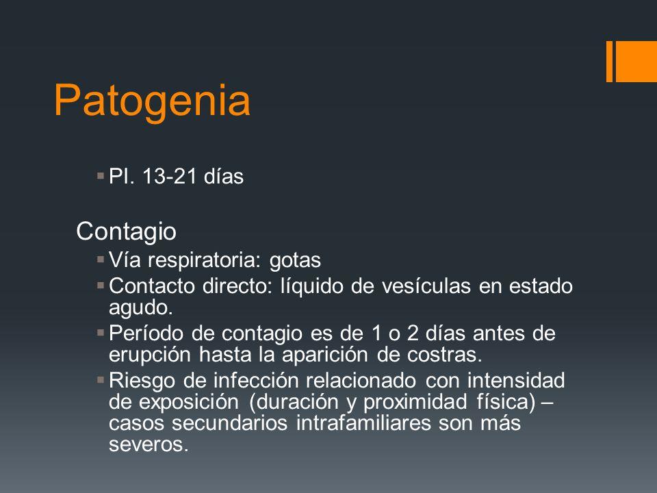 Patogenia Contagio PI. 13-21 días Vía respiratoria: gotas