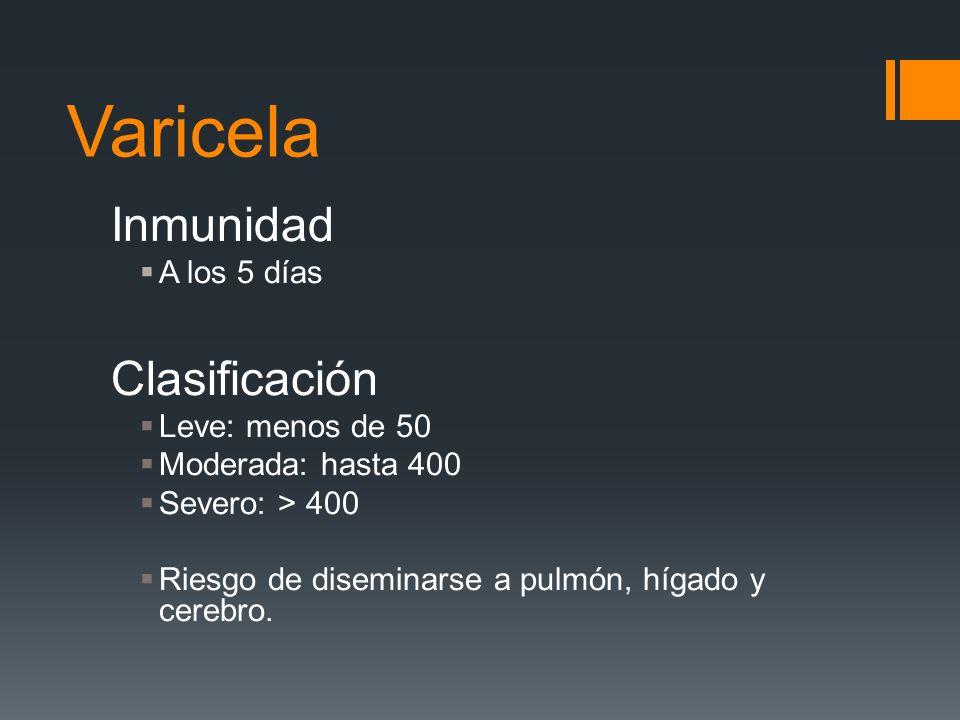 Varicela Inmunidad Clasificación A los 5 días Leve: menos de 50