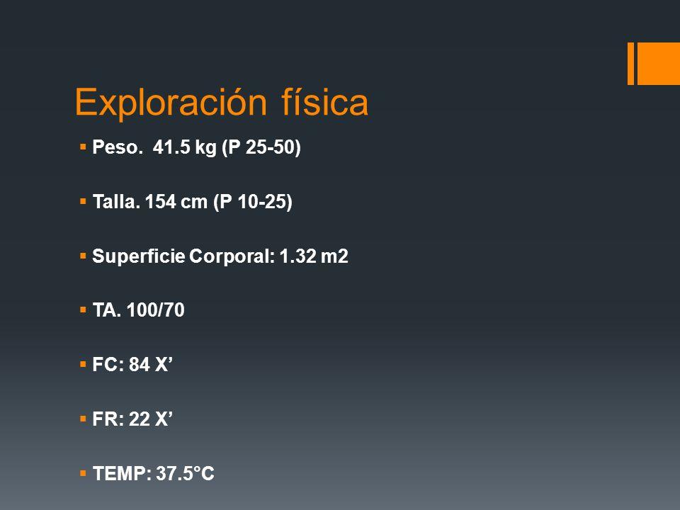 Exploración física Peso. 41.5 kg (P 25-50) Talla. 154 cm (P 10-25)