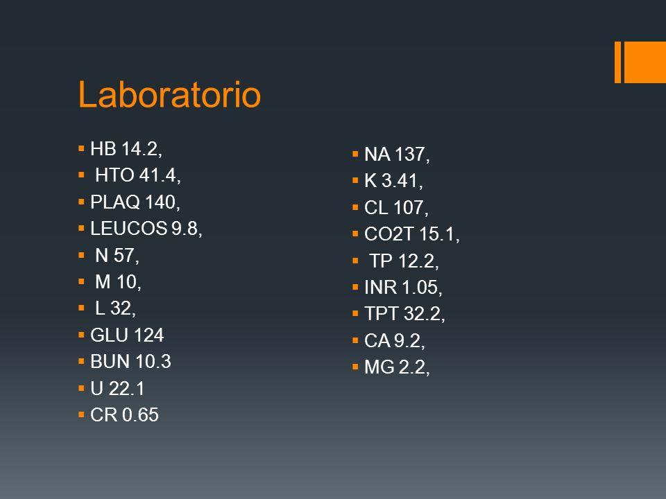 Laboratorio HB 14.2, NA 137, HTO 41.4, K 3.41, PLAQ 140, CL 107,