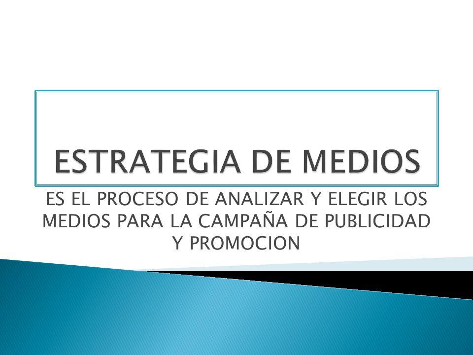 ESTRATEGIA DE MEDIOS ES EL PROCESO DE ANALIZAR Y ELEGIR LOS MEDIOS PARA LA CAMPAÑA DE PUBLICIDAD Y PROMOCION.