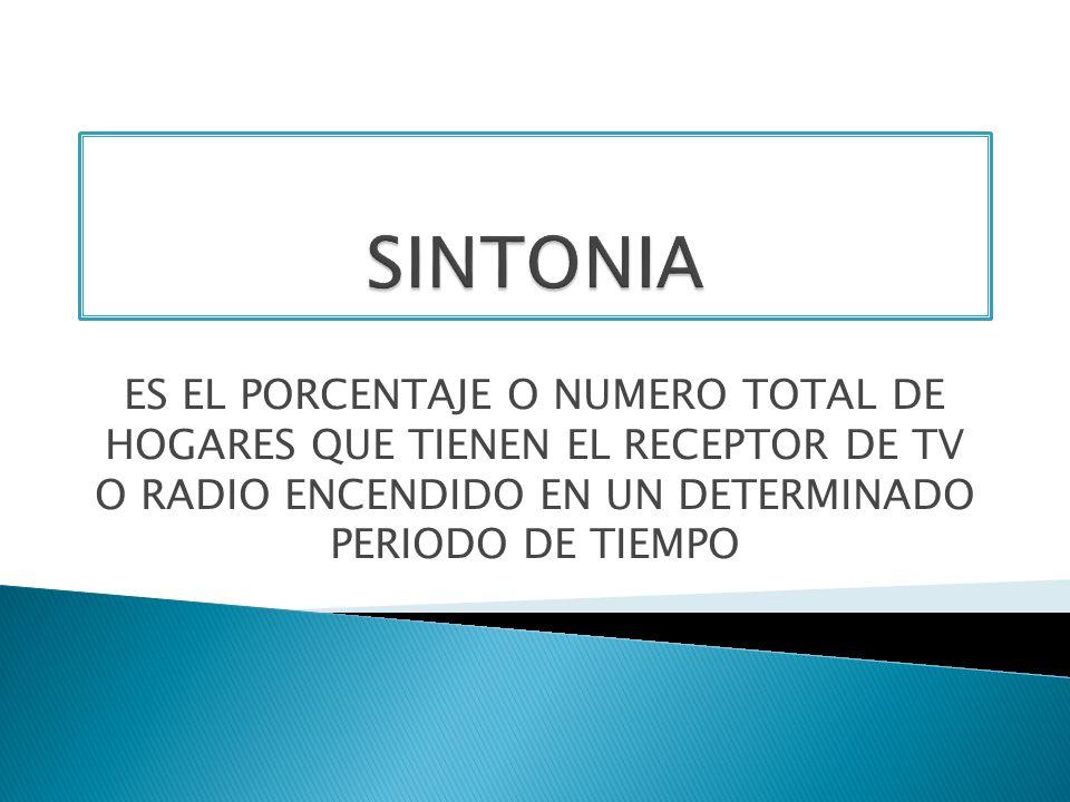 SINTONIAES EL PORCENTAJE O NUMERO TOTAL DE HOGARES QUE TIENEN EL RECEPTOR DE TV O RADIO ENCENDIDO EN UN DETERMINADO PERIODO DE TIEMPO.