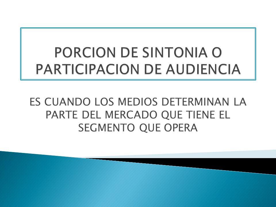 PORCION DE SINTONIA O PARTICIPACION DE AUDIENCIA