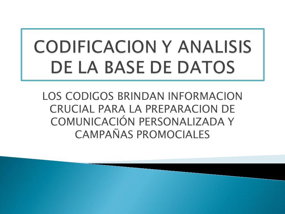 CODIFICACION Y ANALISIS DE LA BASE DE DATOS