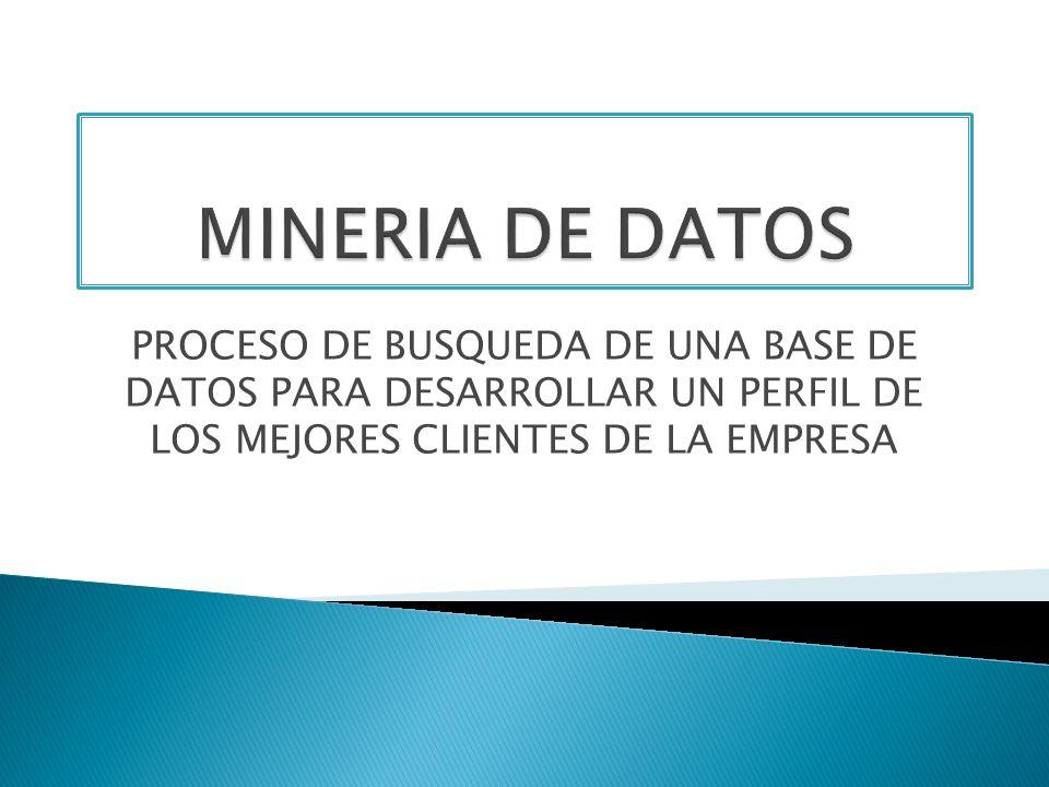 MINERIA DE DATOSPROCESO DE BUSQUEDA DE UNA BASE DE DATOS PARA DESARROLLAR UN PERFIL DE LOS MEJORES CLIENTES DE LA EMPRESA.