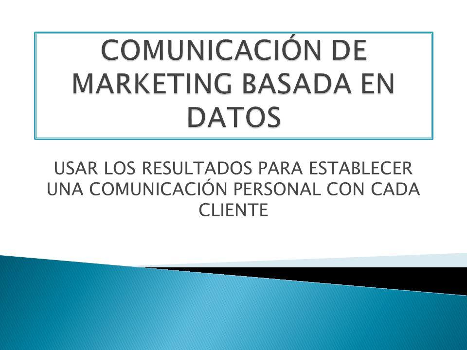 COMUNICACIÓN DE MARKETING BASADA EN DATOS