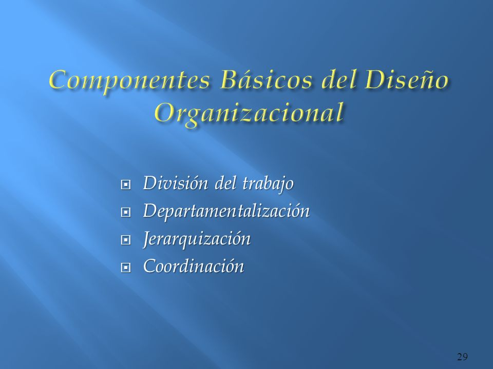 Componentes Básicos del Diseño Organizacional