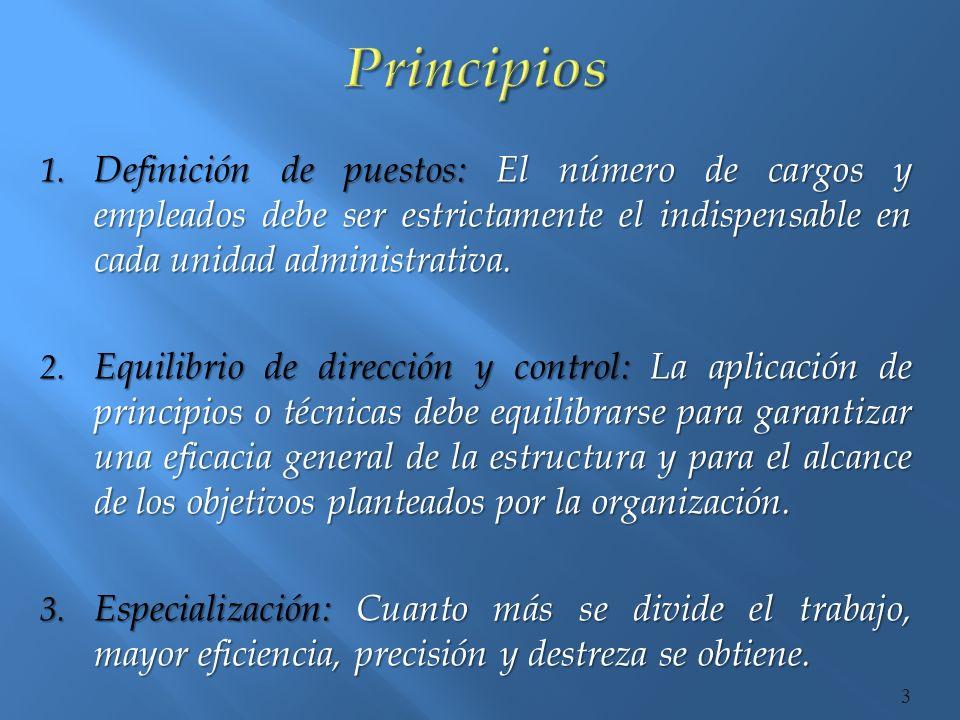 Principios Definición de puestos: El número de cargos y empleados debe ser estrictamente el indispensable en cada unidad administrativa.