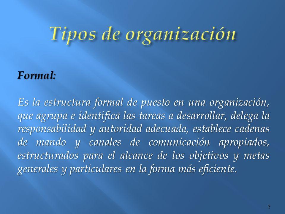 Tipos de organización Formal: