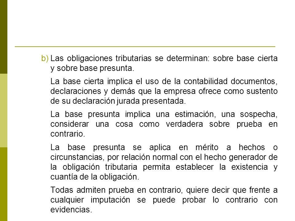 Las obligaciones tributarias se determinan: sobre base cierta y sobre base presunta.