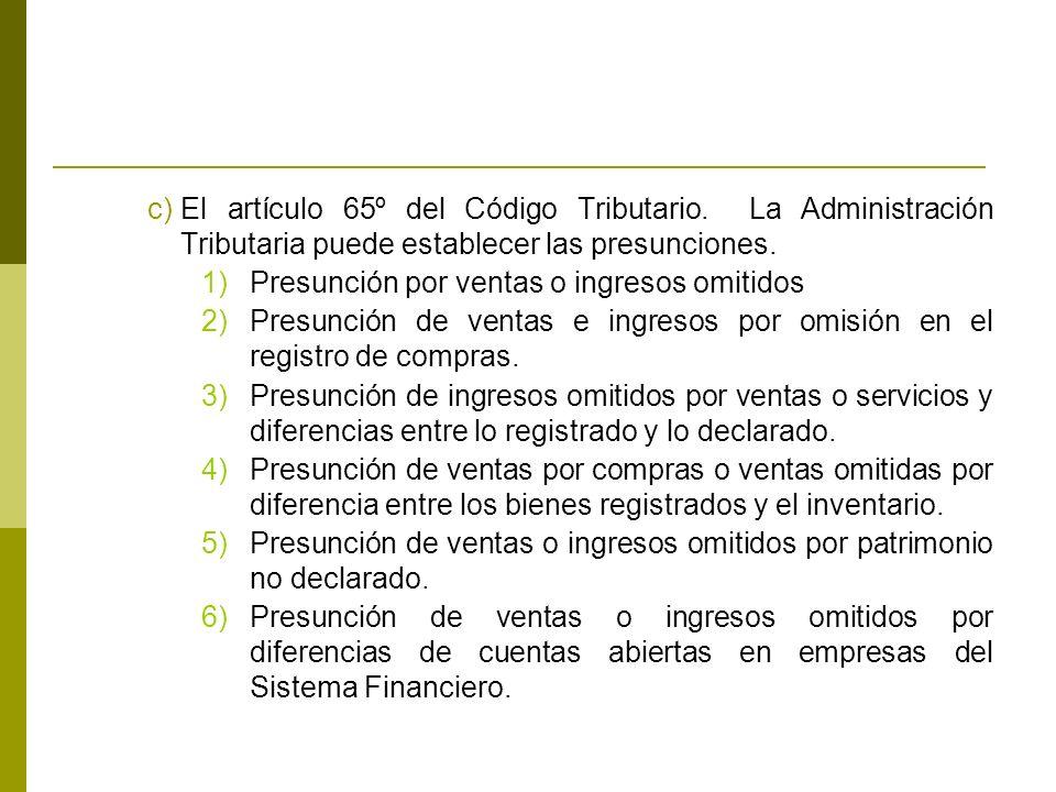 El artículo 65º del Código Tributario