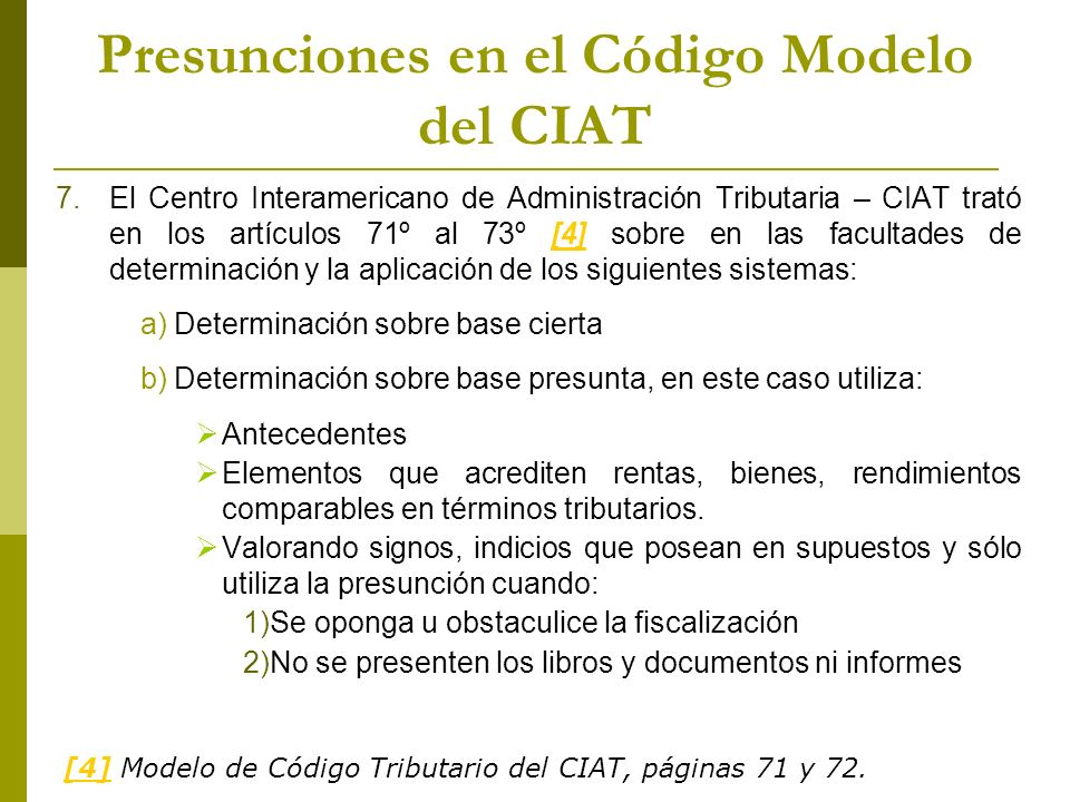 Presunciones en el Código Modelo del CIAT