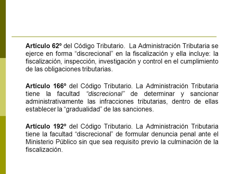 Artículo 62º del Código Tributario