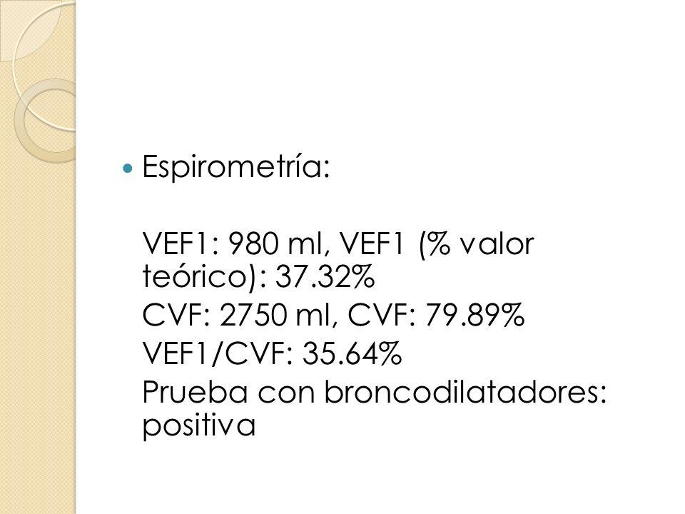 Espirometría: VEF1: 980 ml, VEF1 (% valor teórico): 37.32% CVF: 2750 ml, CVF: 79.89% VEF1/CVF: 35.64%