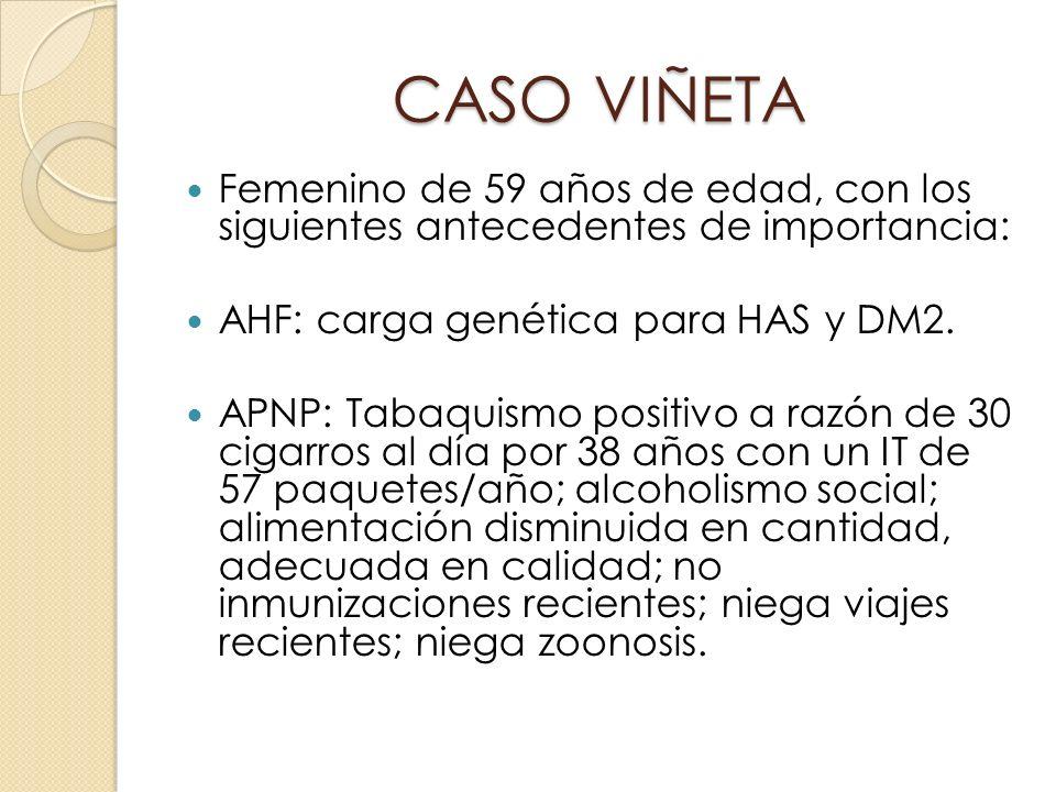 CASO VIÑETA Femenino de 59 años de edad, con los siguientes antecedentes de importancia: AHF: carga genética para HAS y DM2.