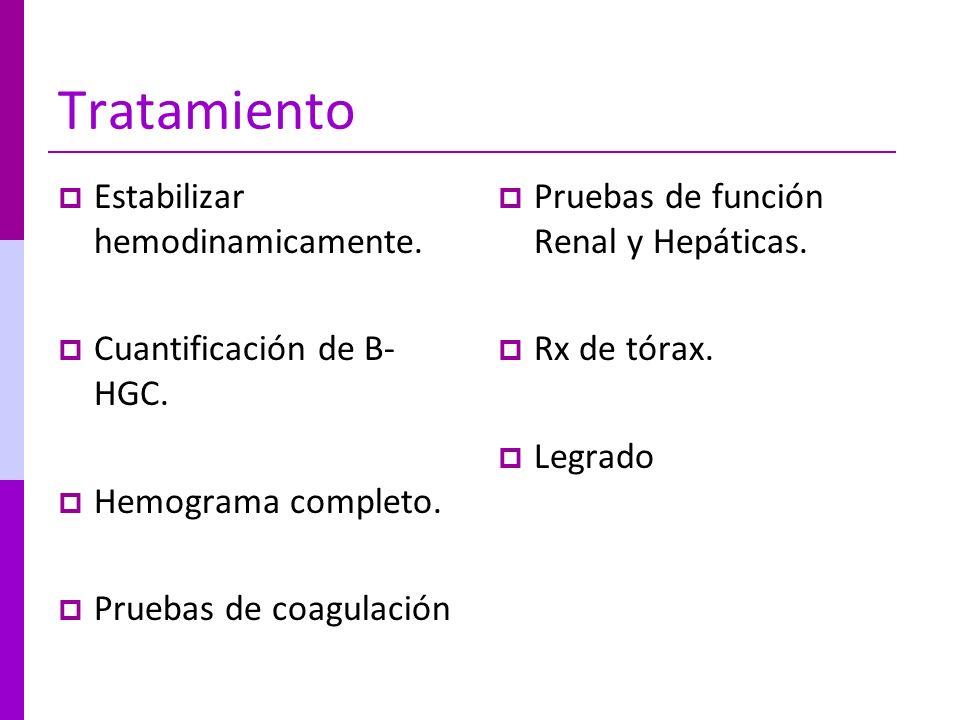 Tratamiento Estabilizar hemodinamicamente. Cuantificación de B-HGC.