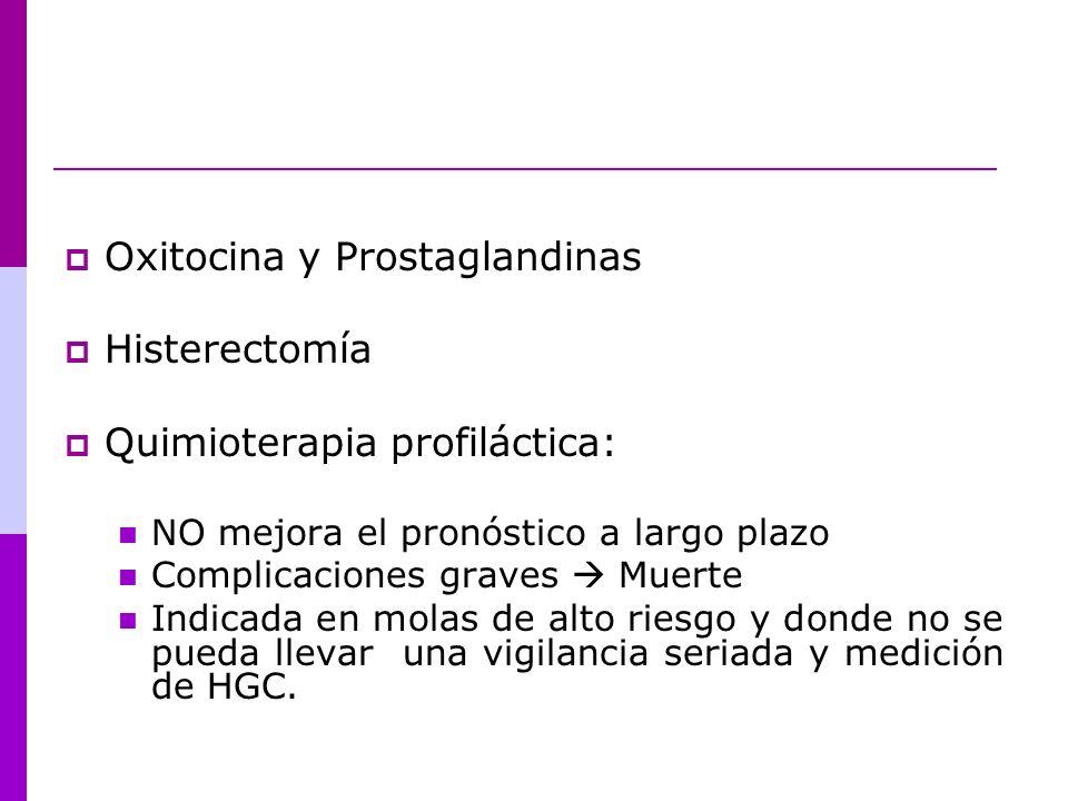 Oxitocina y Prostaglandinas Histerectomía Quimioterapia profiláctica: