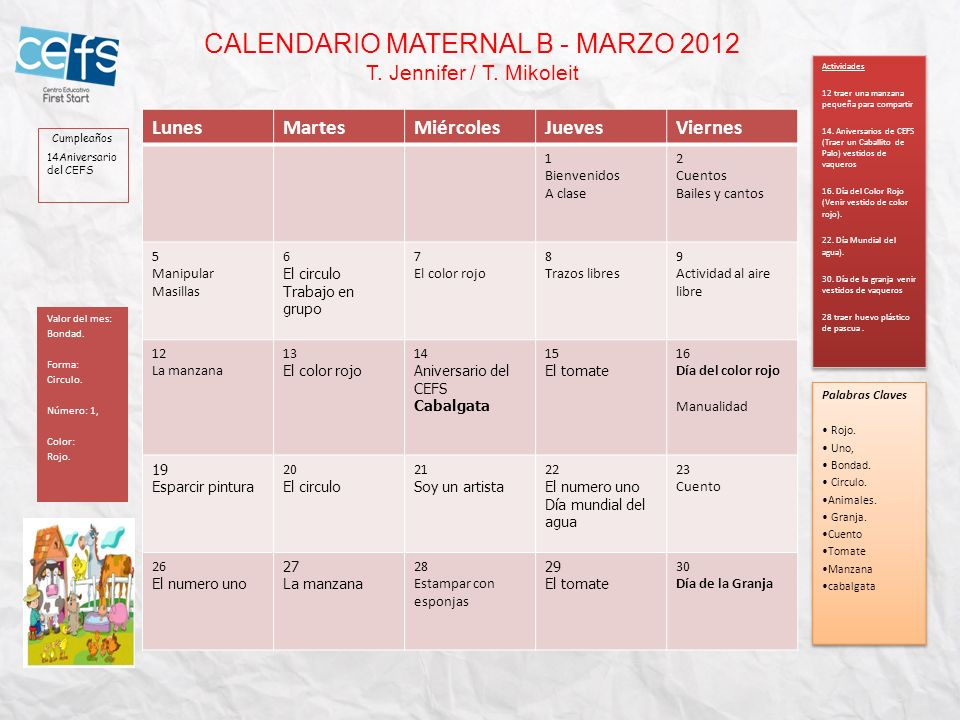 CALENDARIO MATERNAL B - MARZO 2012