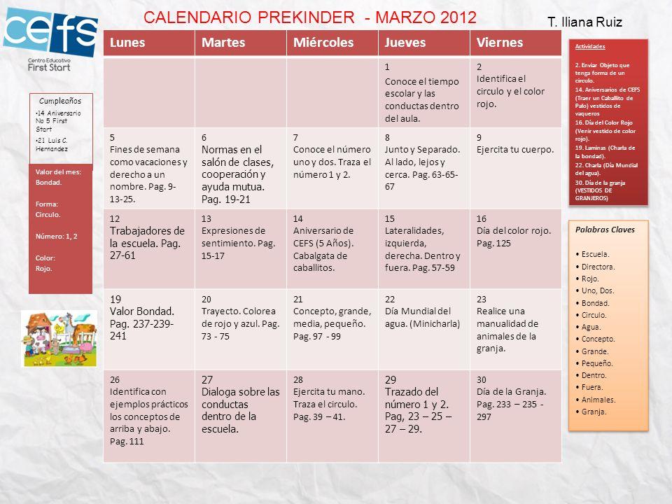 CALENDARIO PREKINDER - MARZO 2012