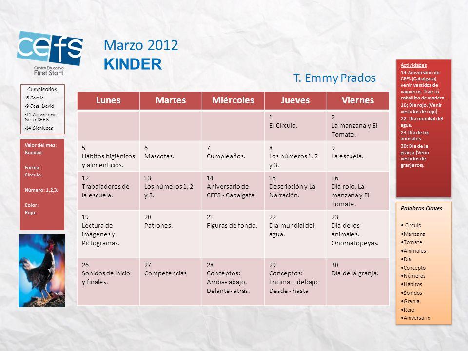 Marzo 2012 KINDER T. Emmy Prados Lunes Martes Miércoles Jueves Viernes