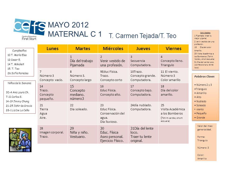 MAYO 2012 MATERNAL C 1 T. Carmen Tejada/T. Teo Lunes Martes Miércoles