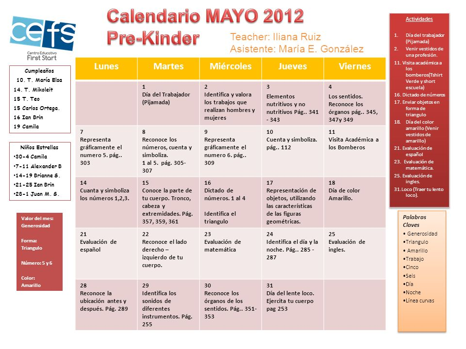 Calendario MAYO 2012 Pre-Kinder Teacher: Iliana Ruiz
