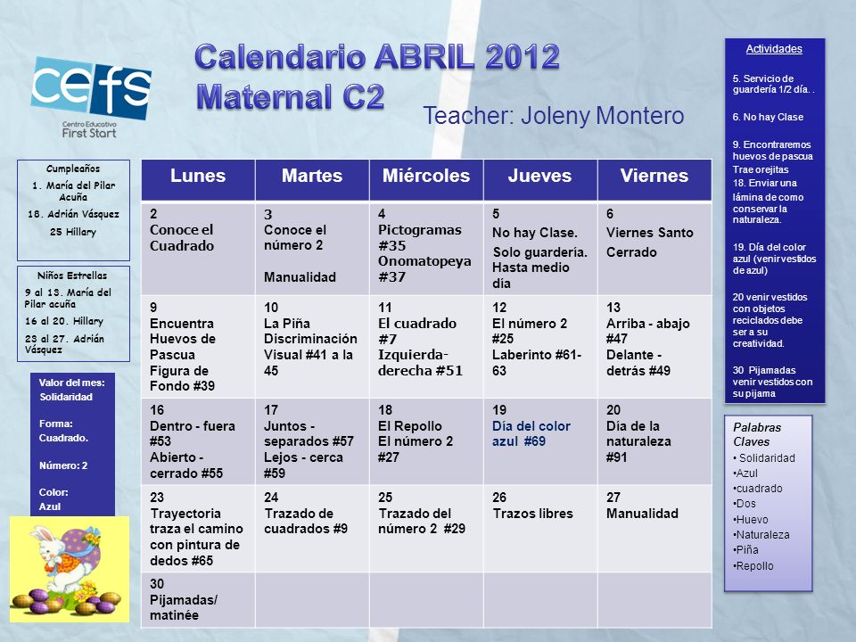 Calendario ABRIL 2012 Maternal C2 Teacher: Joleny Montero Lunes Martes