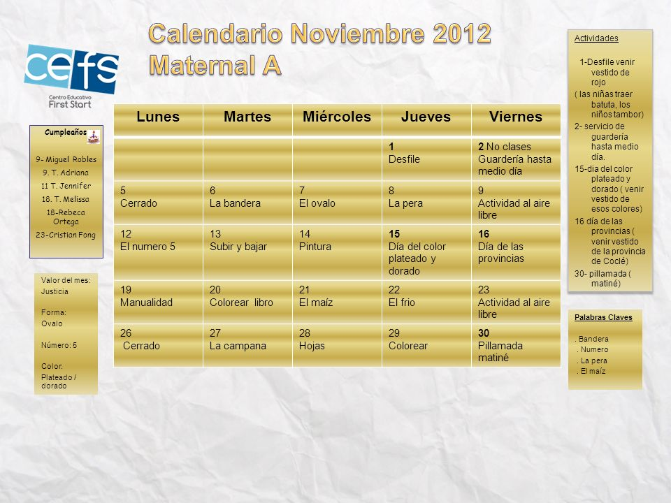Calendario Noviembre 2012 Maternal A Lunes Martes Miércoles Jueves