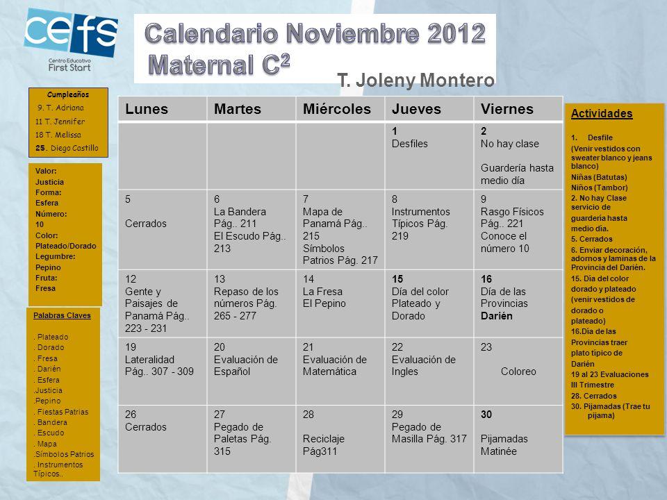 Calendario Noviembre 2012 Maternal C2 T. Joleny Montero Lunes Martes