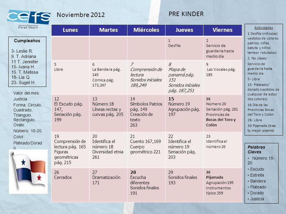Noviembre 2012 PRE KINDER Lunes Martes Miércoles Jueves Viernes 1