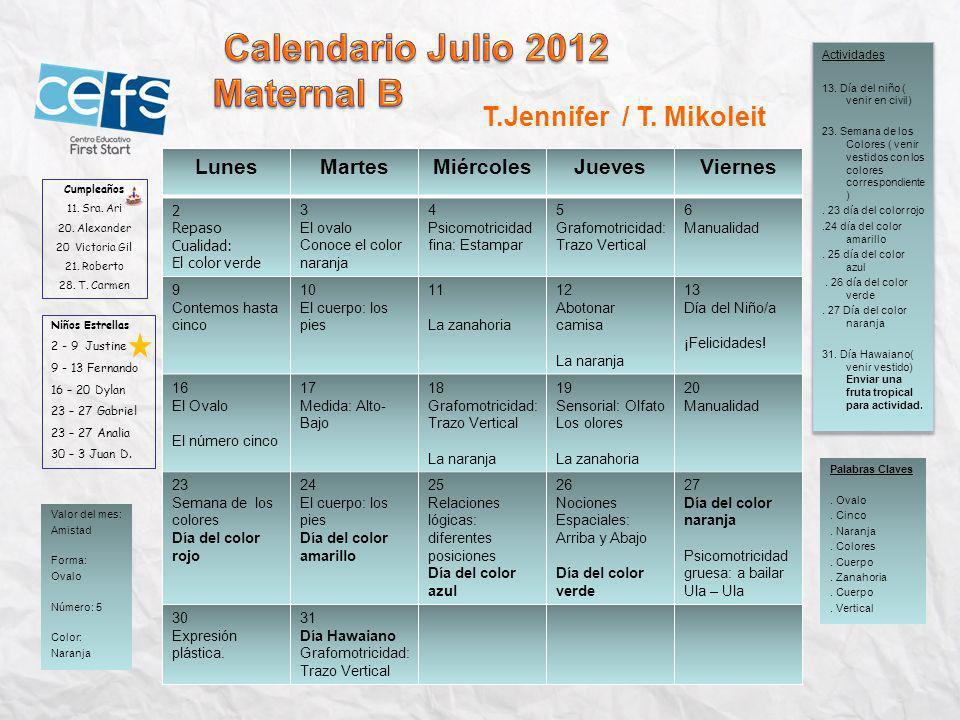 Calendario Julio 2012 Maternal B T.Jennifer / T. Mikoleit Lunes Martes