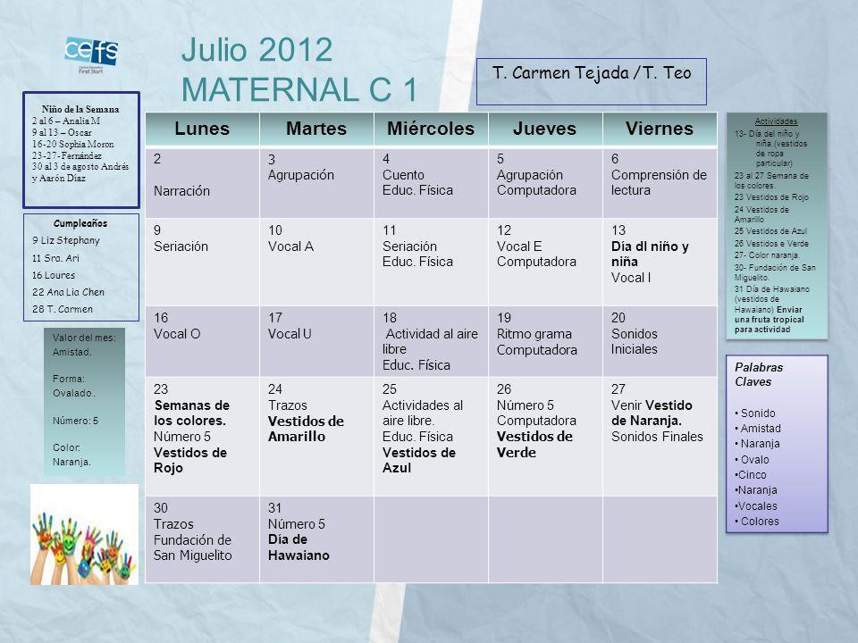 Julio 2012 MATERNAL C 1 Lunes Martes Miércoles Jueves Viernes
