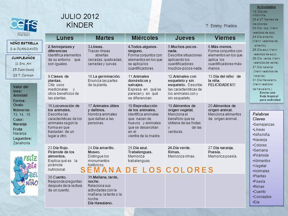 SEMANA DE LOS COLORES JULIO 2012 KÍNDER Lunes Martes Miércoles Jueves