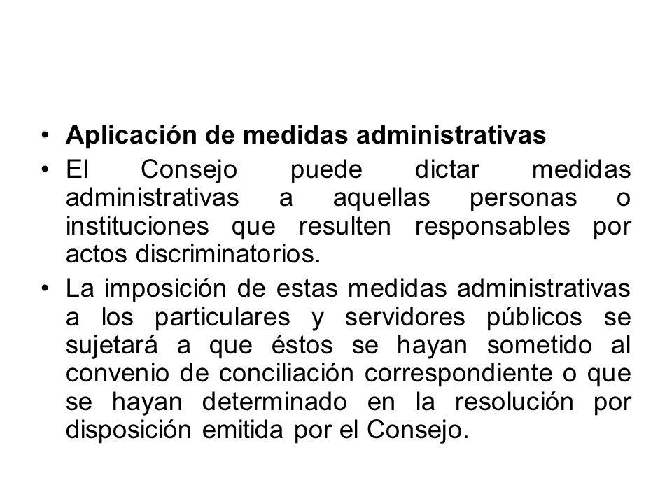 Aplicación de medidas administrativas
