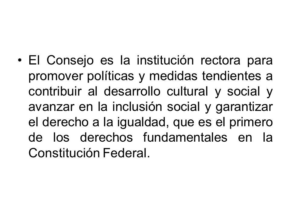 El Consejo es la institución rectora para promover políticas y medidas tendientes a contribuir al desarrollo cultural y social y avanzar en la inclusión social y garantizar el derecho a la igualdad, que es el primero de los derechos fundamentales en la Constitución Federal.