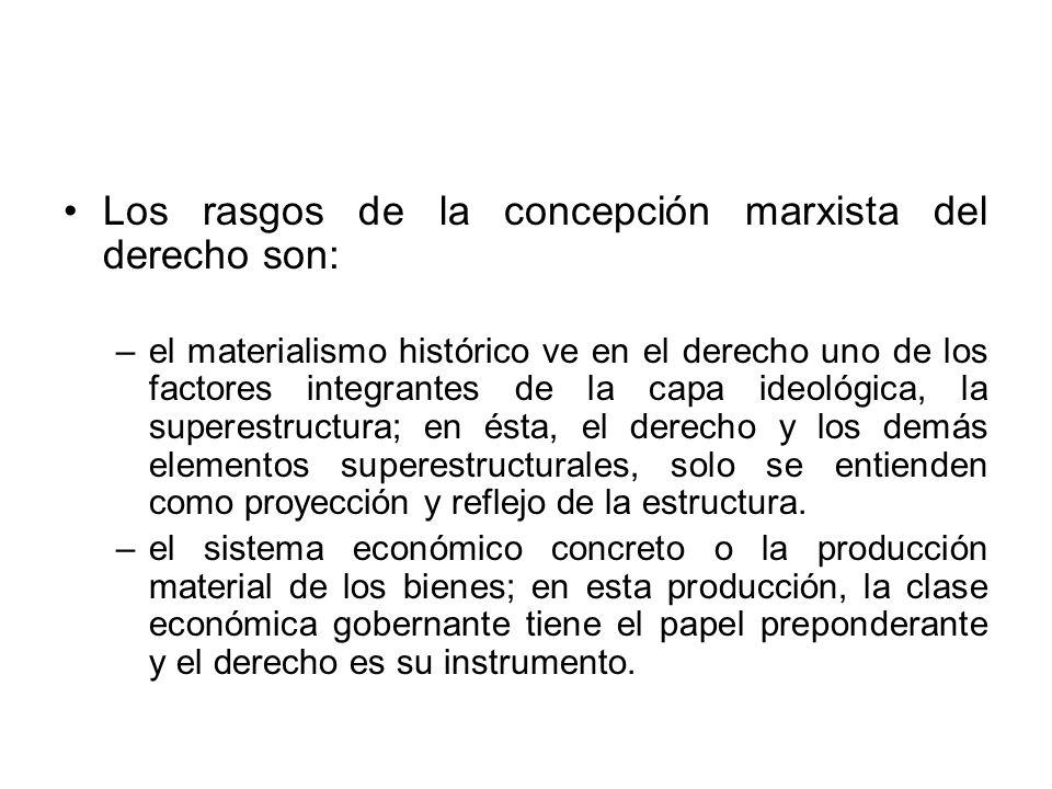 Los rasgos de la concepción marxista del derecho son: