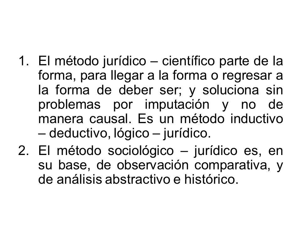 El método jurídico – científico parte de la forma, para llegar a la forma o regresar a la forma de deber ser; y soluciona sin problemas por imputación y no de manera causal. Es un método inductivo – deductivo, lógico – jurídico.