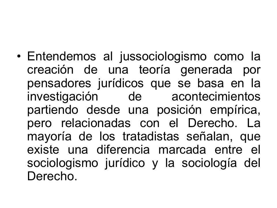 Entendemos al jussociologismo como la creación de una teoría generada por pensadores jurídicos que se basa en la investigación de acontecimientos partiendo desde una posición empírica, pero relacionadas con el Derecho.