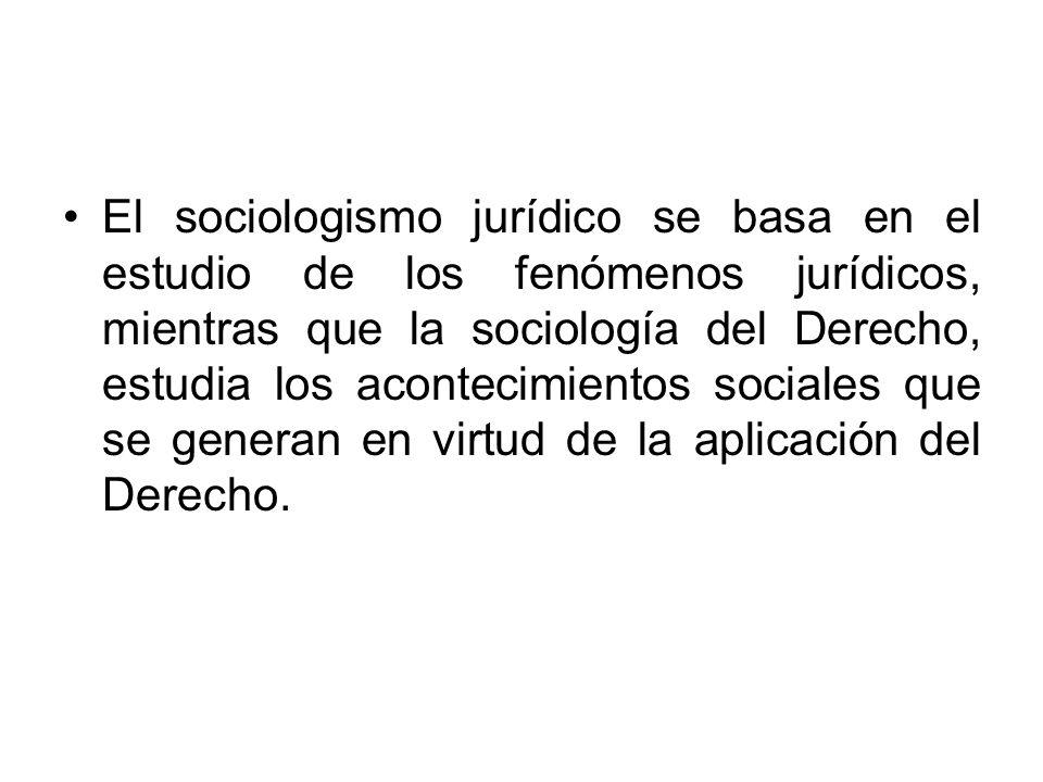 El sociologismo jurídico se basa en el estudio de los fenómenos jurídicos, mientras que la sociología del Derecho, estudia los acontecimientos sociales que se generan en virtud de la aplicación del Derecho.