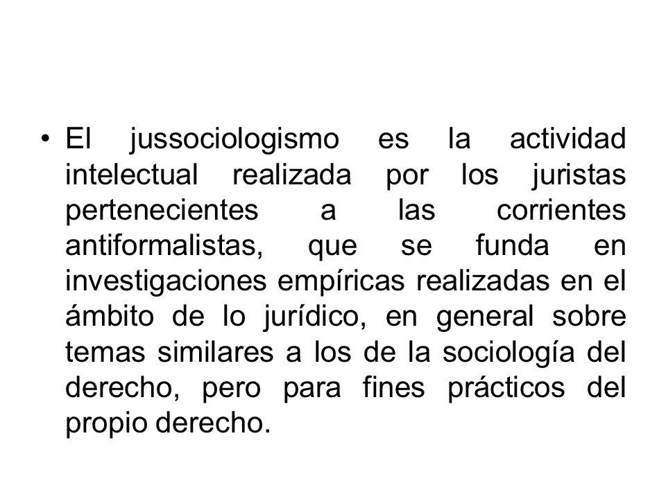 El jussociologismo es la actividad intelectual realizada por los juristas pertenecientes a las corrientes antiformalistas, que se funda en investigaciones empíricas realizadas en el ámbito de lo jurídico, en general sobre temas similares a los de la sociología del derecho, pero para fines prácticos del propio derecho.