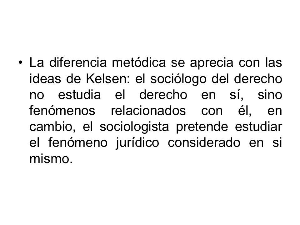 La diferencia metódica se aprecia con las ideas de Kelsen: el sociólogo del derecho no estudia el derecho en sí, sino fenómenos relacionados con él, en cambio, el sociologista pretende estudiar el fenómeno jurídico considerado en si mismo.