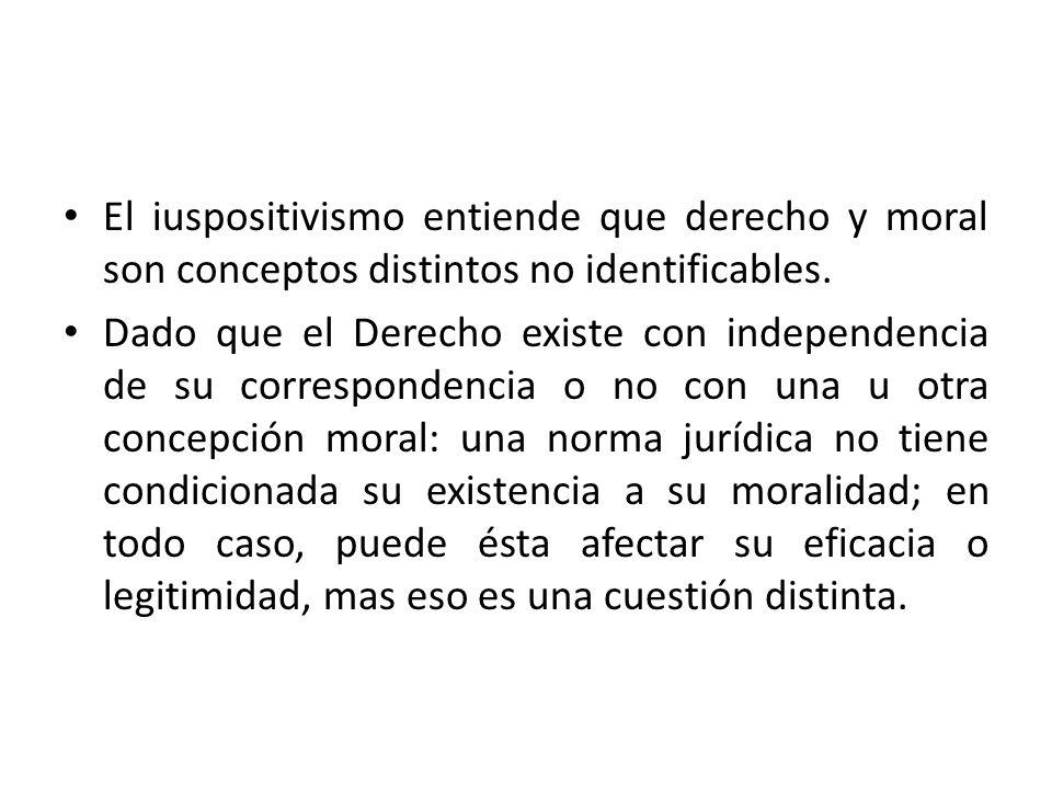 El iuspositivismo entiende que derecho y moral son conceptos distintos no identificables.