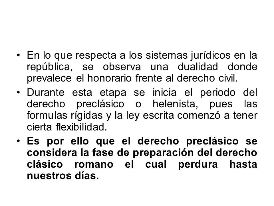 En lo que respecta a los sistemas jurídicos en la república, se observa una dualidad donde prevalece el honorario frente al derecho civil.